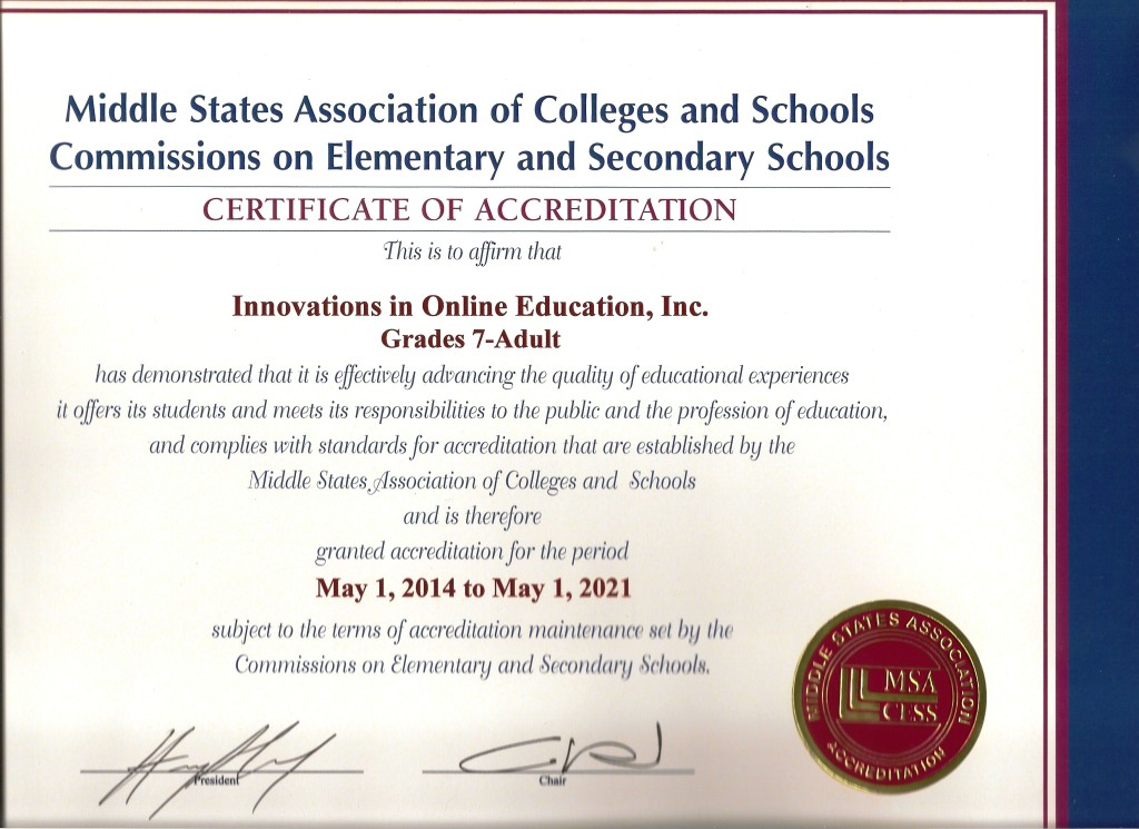 MSA Accreditation for Innovations in Online Education